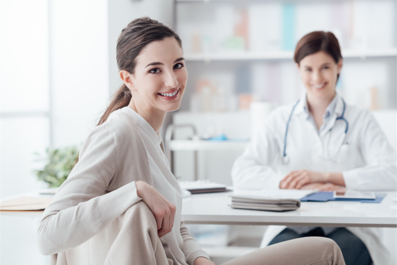 The woman gets consultation from an integrative practitioner.