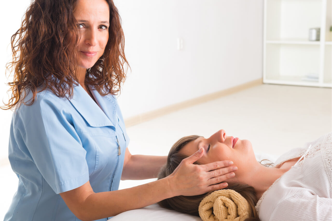 Holistic healer with a patient