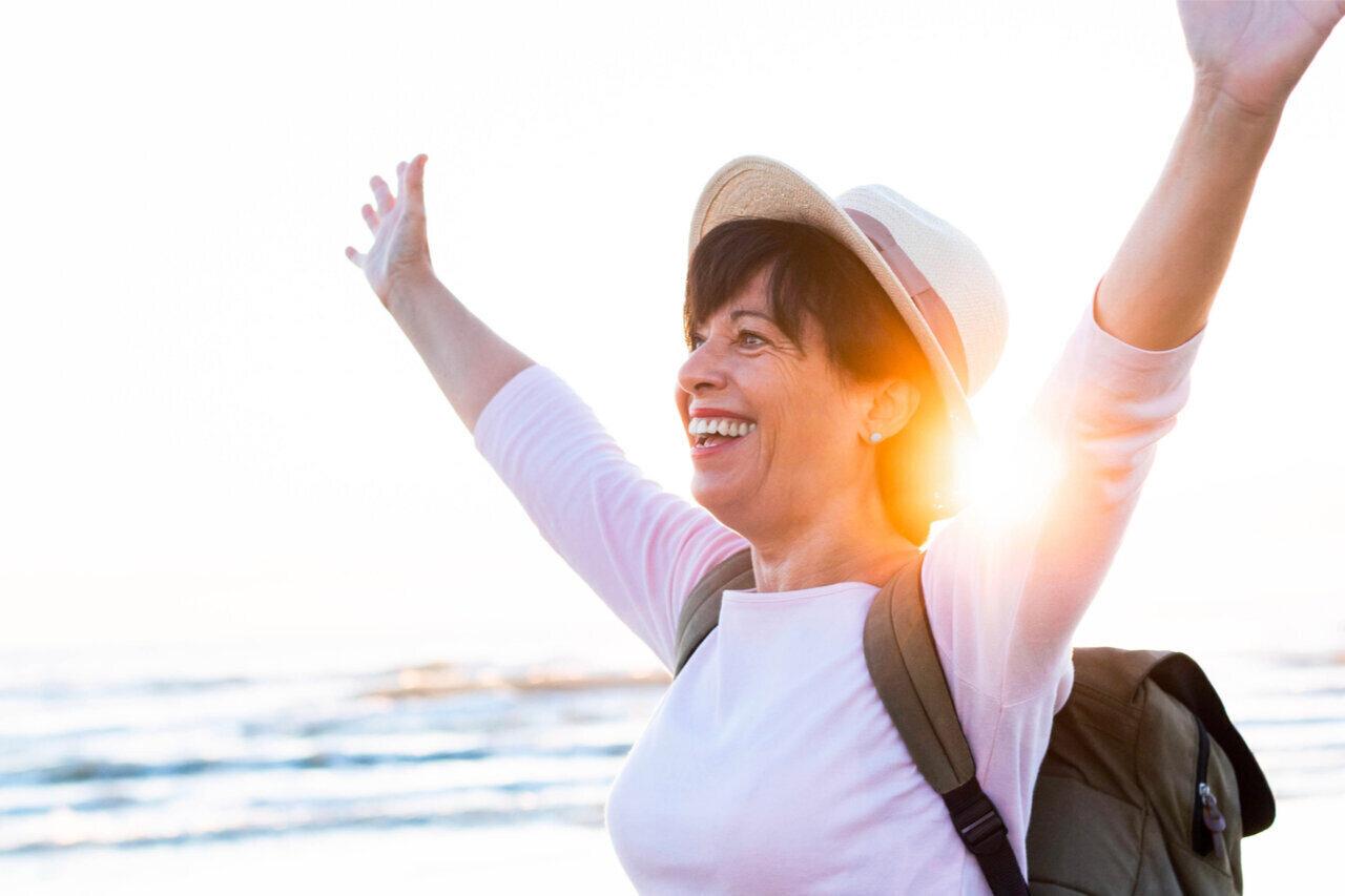 a lady enjoying life in full optimal health